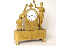 gilt bronze clock woman vestal moth guitar Leroy Empire clock nineteenth