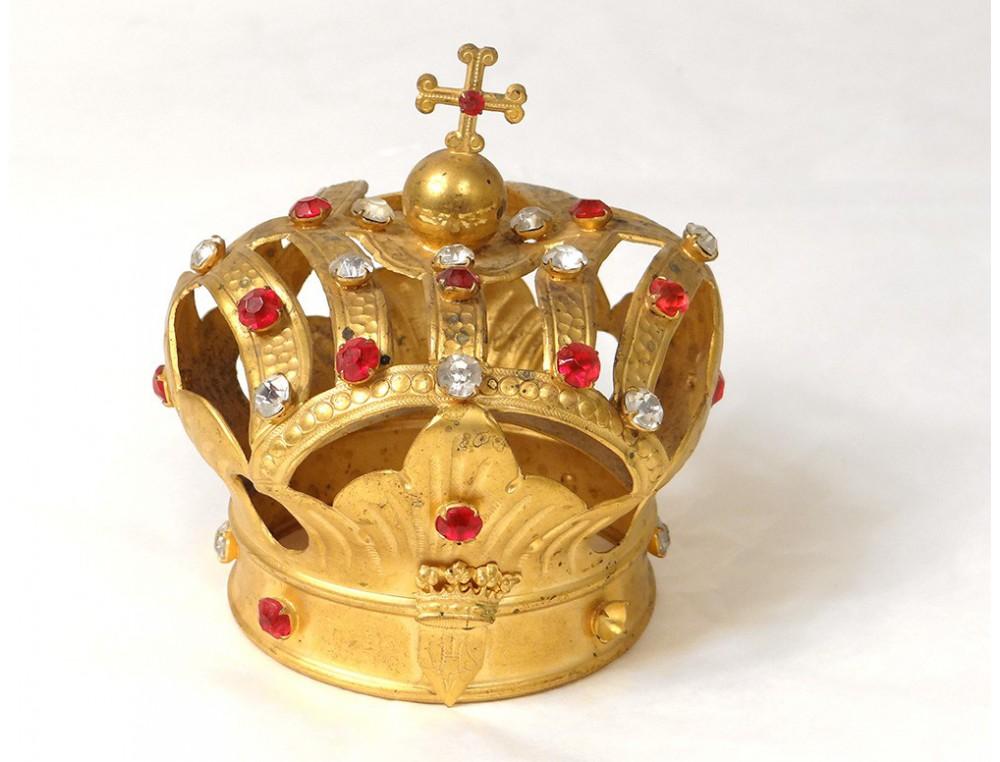 petite couronne vierge statue laiton dor strass fleurs crown xix me si cle. Black Bedroom Furniture Sets. Home Design Ideas