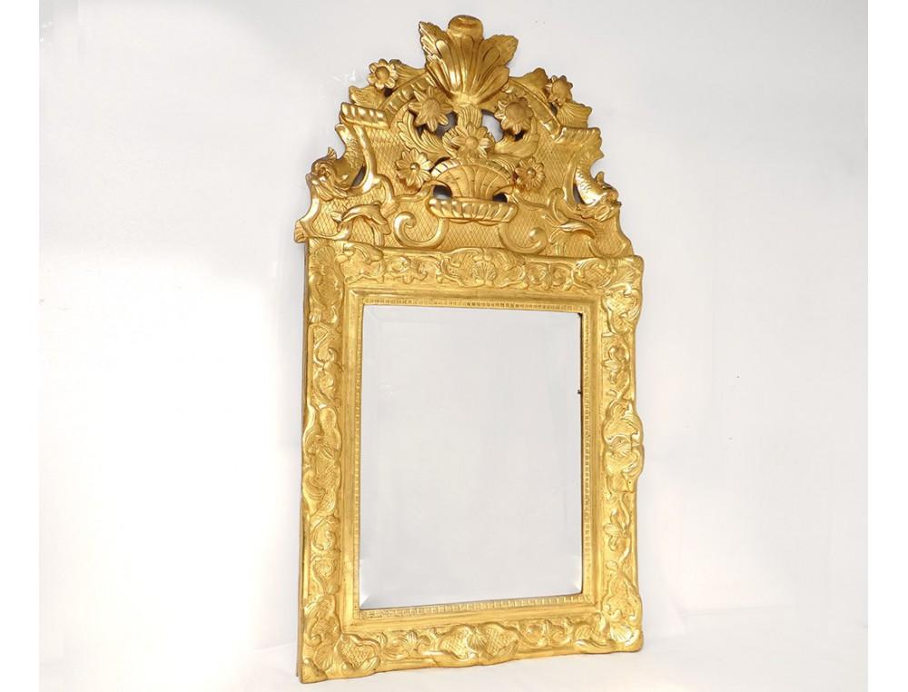 Miroir r gence glace cadre bois sculpt dor dauphins - Glace miroir sans cadre ...