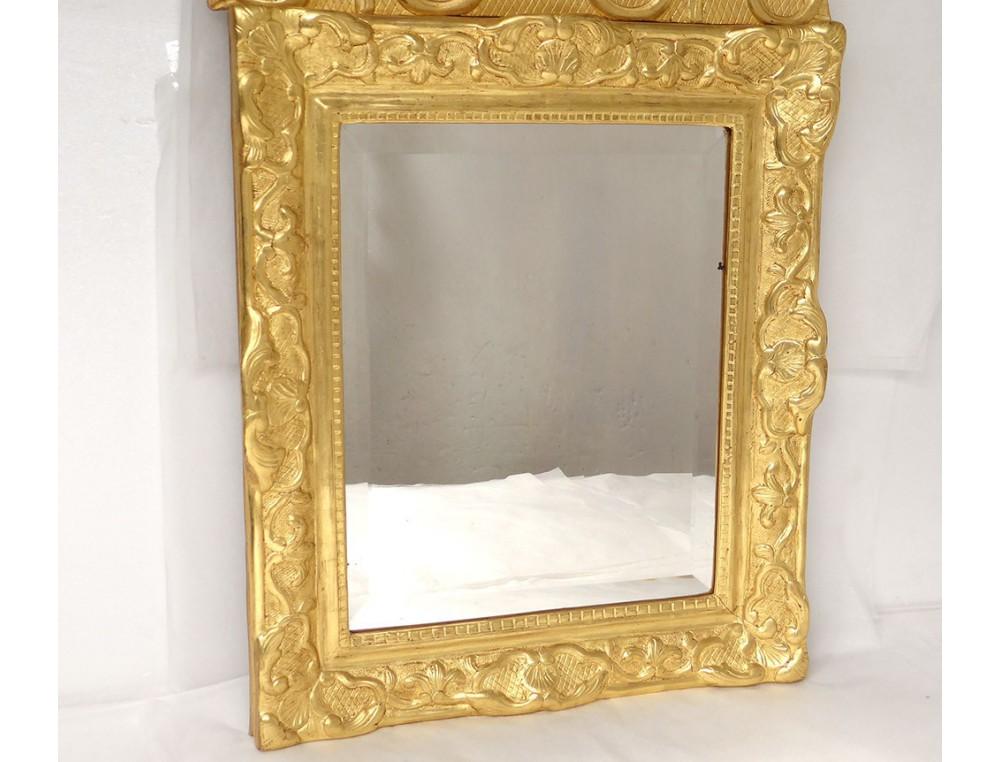 Miroir r gence glace cadre bois sculpt dor dauphins for Miroir cadre bois
