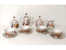 Tea Service 8 pieces porcelain tea cups Kutani Japanese geishas nineteenth