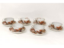 6 cups Japanese Kutani porcelain saucers samurai flags nineteenth