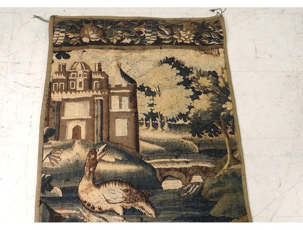 tapisserie aubusson porti re paysage verdure oiseau tang ch teau xviii me. Black Bedroom Furniture Sets. Home Design Ideas