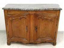 carved oak sideboard hunting curved molded gray eighteenth century marble