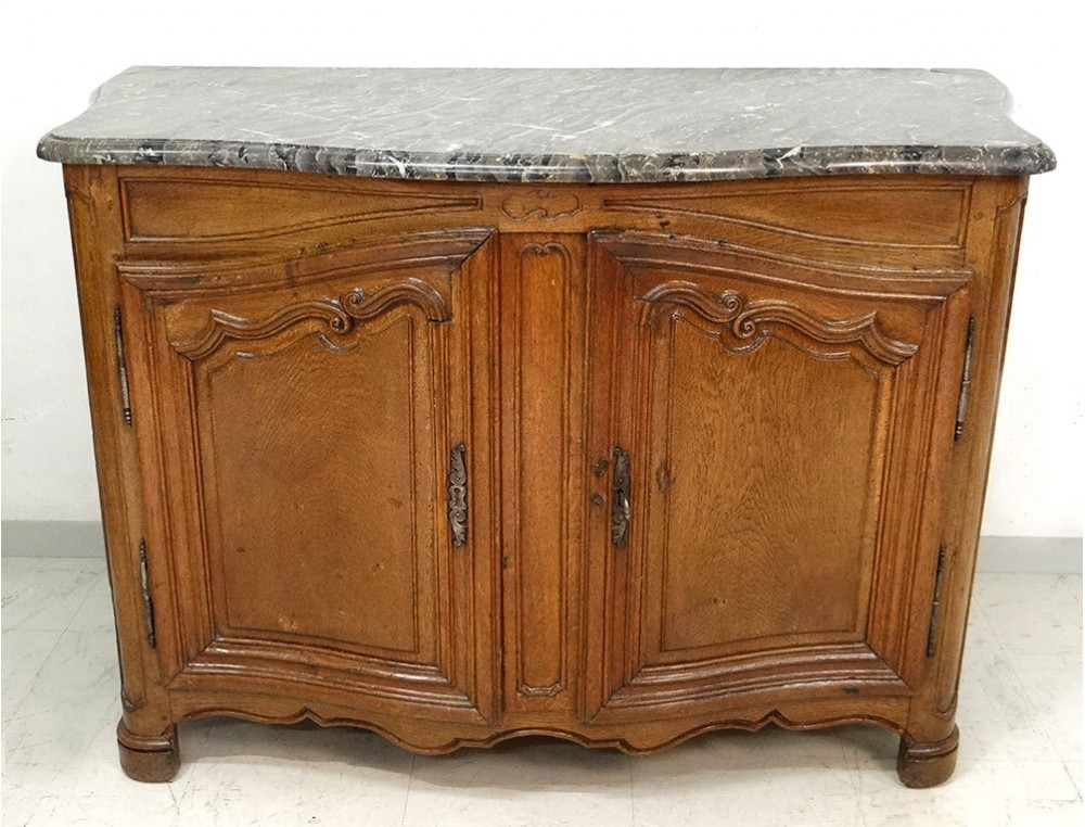 Carved oak sideboard hunting curved molded gray eighteenth