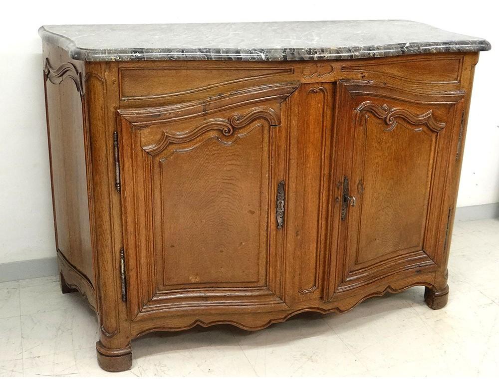 buffet de chasse ch ne sculpt galb moulur marbre gris. Black Bedroom Furniture Sets. Home Design Ideas