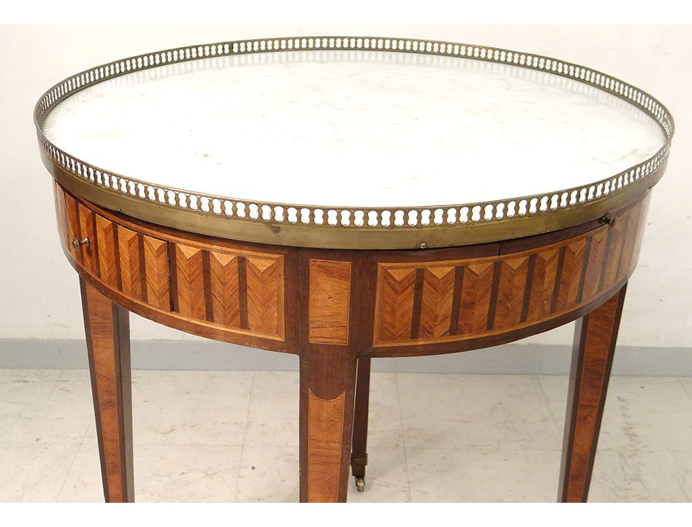 Drum Table Louis Xvi White Marble Inlaid Golden Brass