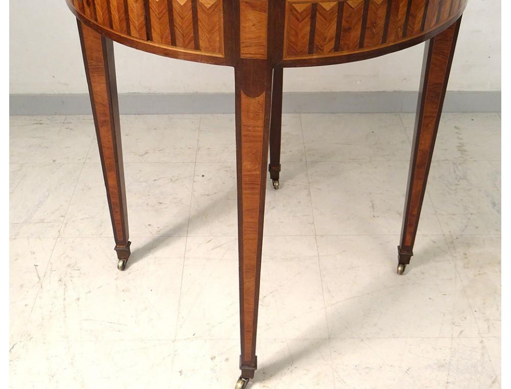 Table bouillotte Louis XVI marqueterie marbre blanc laiton doré XIXème -> Marbre Blanc Dorure Metal Table