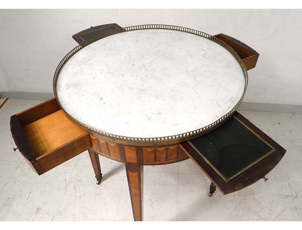 Drum Table Louis XVI white marble inlaid golden brass nineteen -> Marbre Blanc Dorure Metal Table