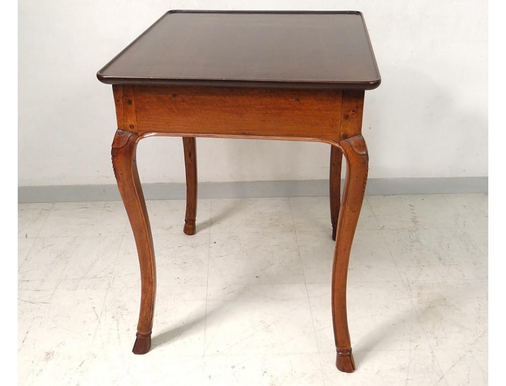 Table cabaret Louis XV bureau noyer sculpt plateau gorge XVIIIme