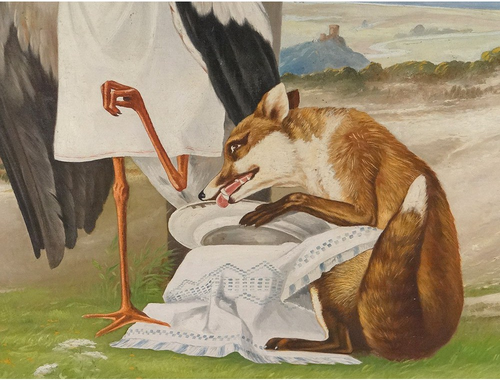 Great Hst Table Fontaine Fable The Fox Albert Stork