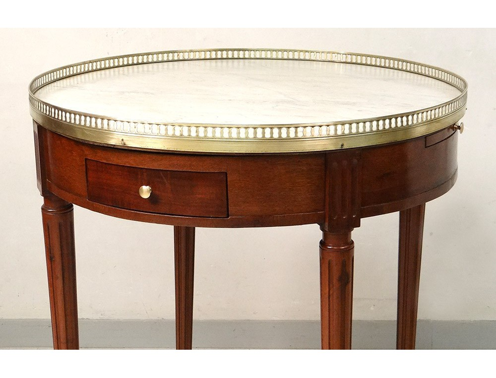 Table bouillotte Louis XVI acajou marbre blanc laiton doré XIXème siècle -> Marbre Blanc Dorure Metal Table