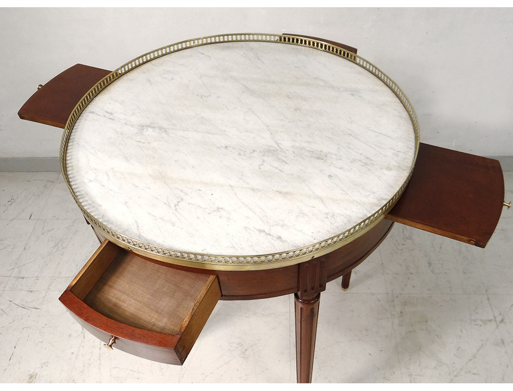 Table bouillotte louis xvi acajou marbre blanc laiton dor for Table basse marbre