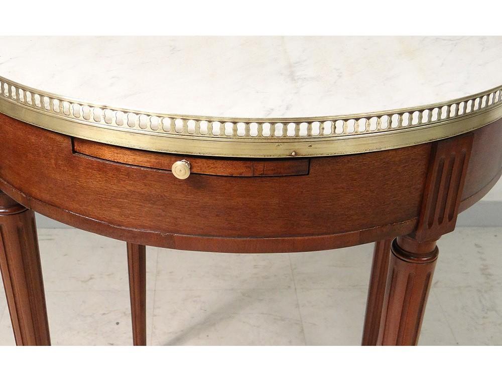 Table bouillotte Louis XVI acajou marbre blanc laiton doré