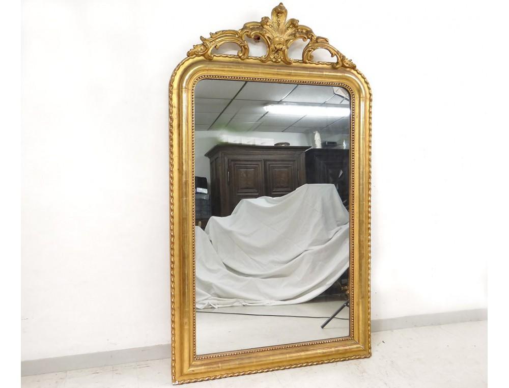 miroir chemin e louis xv bois stuqu dor coquille glace napol on iii xix. Black Bedroom Furniture Sets. Home Design Ideas