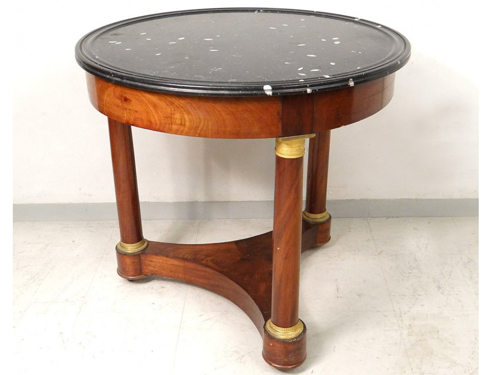 Gu ridon table tripode acajou cuba marbre colonnes bronze for Table gueridon