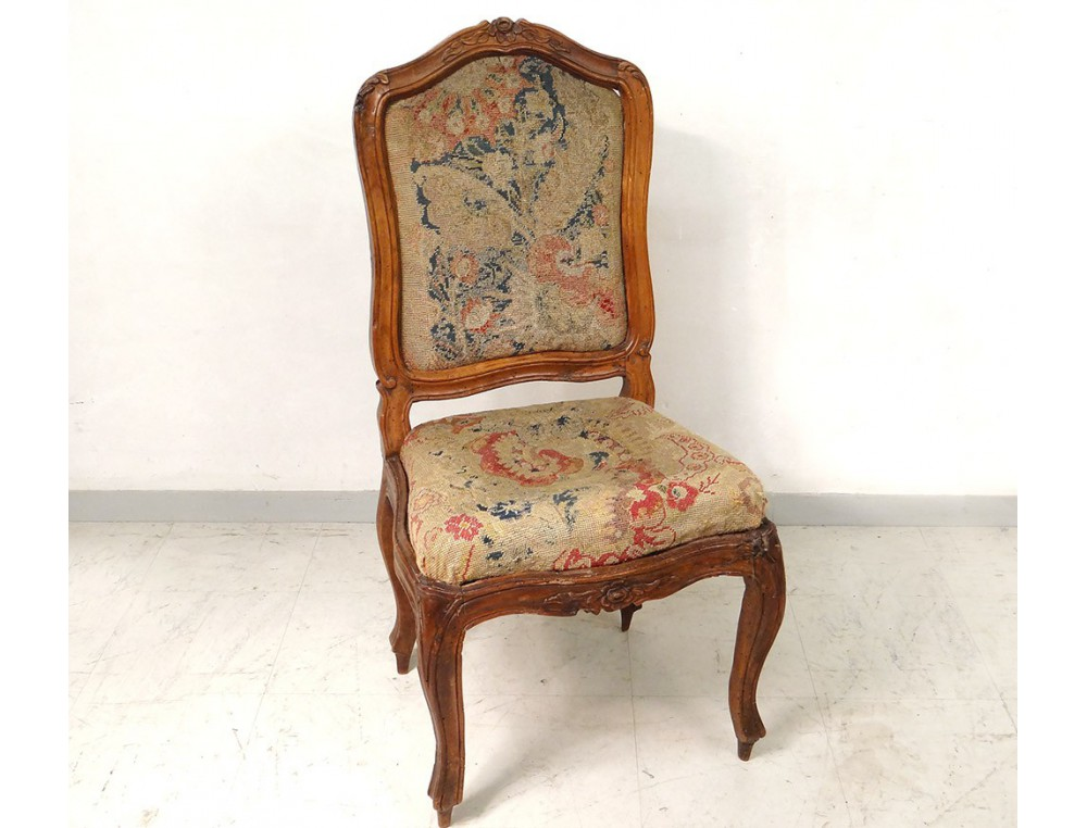 Chaise ch ssis louis xv noyer sculpt tapisserie fleurs for Chaise en noyer