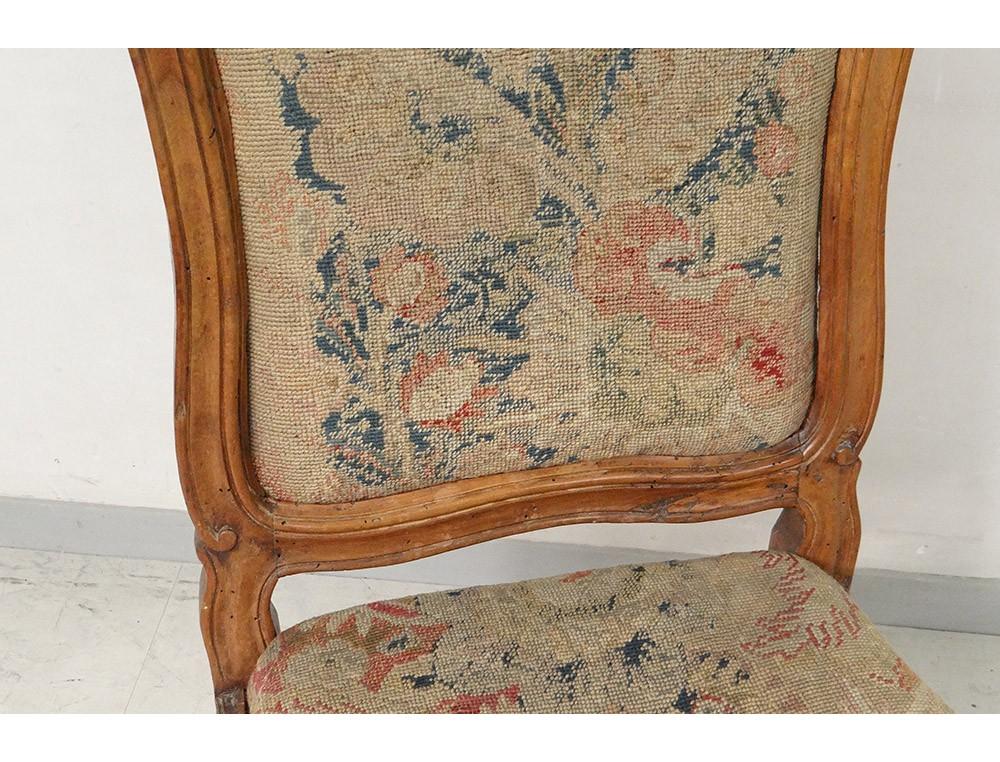 chaise ch ssis louis xv noyer sculpt tapisserie fleurs chair xviii me. Black Bedroom Furniture Sets. Home Design Ideas