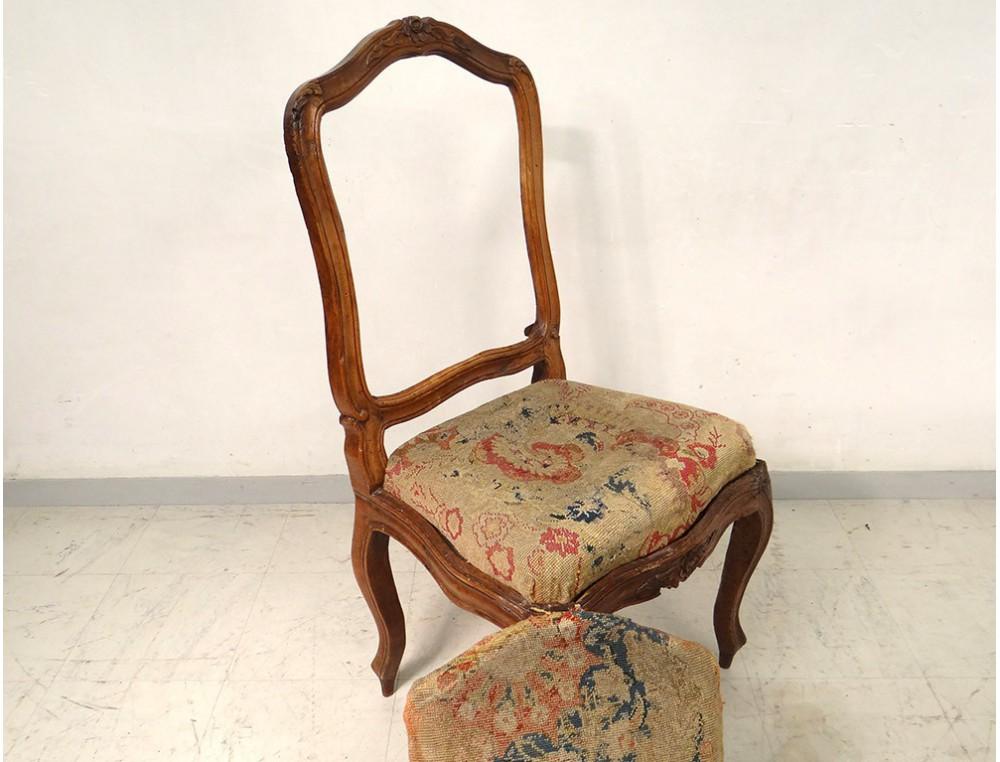 chaise ch ssis louis xv noyer sculpt tapisserie fleurs. Black Bedroom Furniture Sets. Home Design Ideas