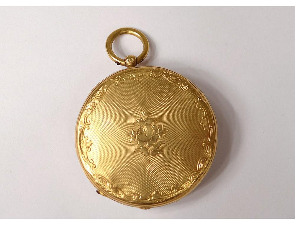Montre Gousset Or Massif 18carats Fleurs T 234 Te Cheval Gold