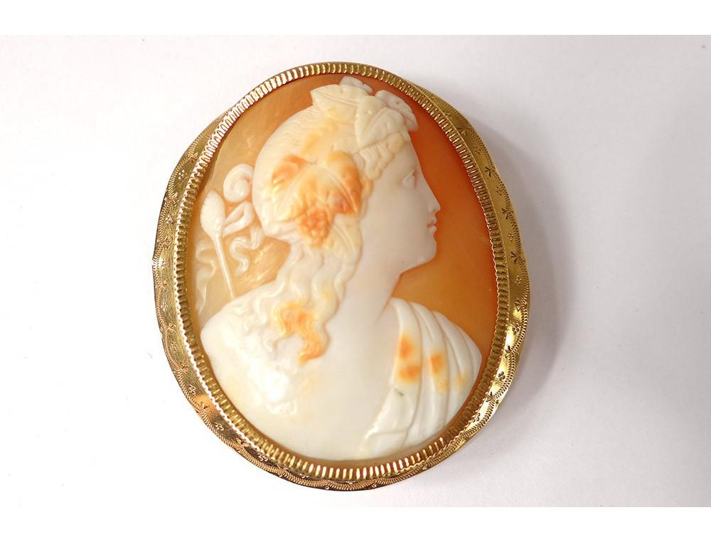 codes promo divers styles prix d'usine Broche bijou camée or massif 18 carats portrait jeune femme ...