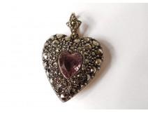 Heart pendant jewelry marcasite silver vermeil amethyst twentieth century