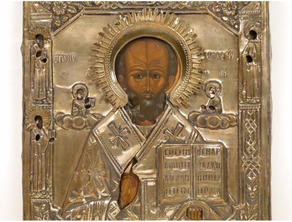 Russian Orthodox Icon Oclade Copper Saint Nicolas 19th