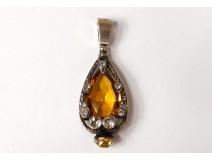 Pendant jewelry silver metal shiny topaz yellow citrine twentieth century