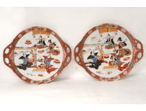 Pair of porcelain dishes Satsuma Japanese characters geisha flowers signed nineteenth