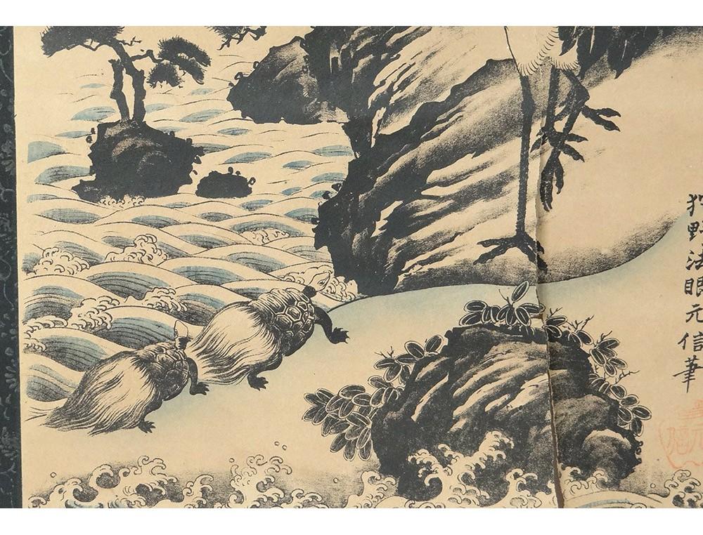 Estampe Japonaise Rouleau Paysage Montagne H 233 Ron Tortues