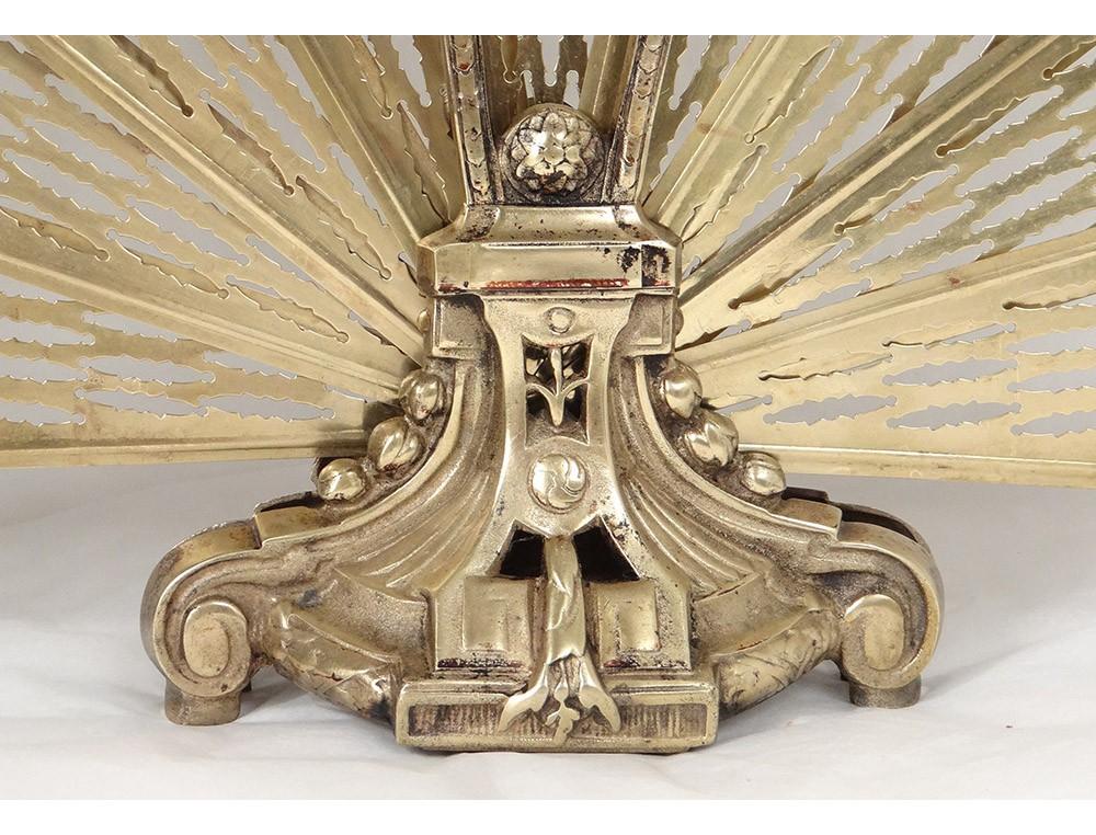 pare feu ventail anglais bronze dor profil femme antique. Black Bedroom Furniture Sets. Home Design Ideas