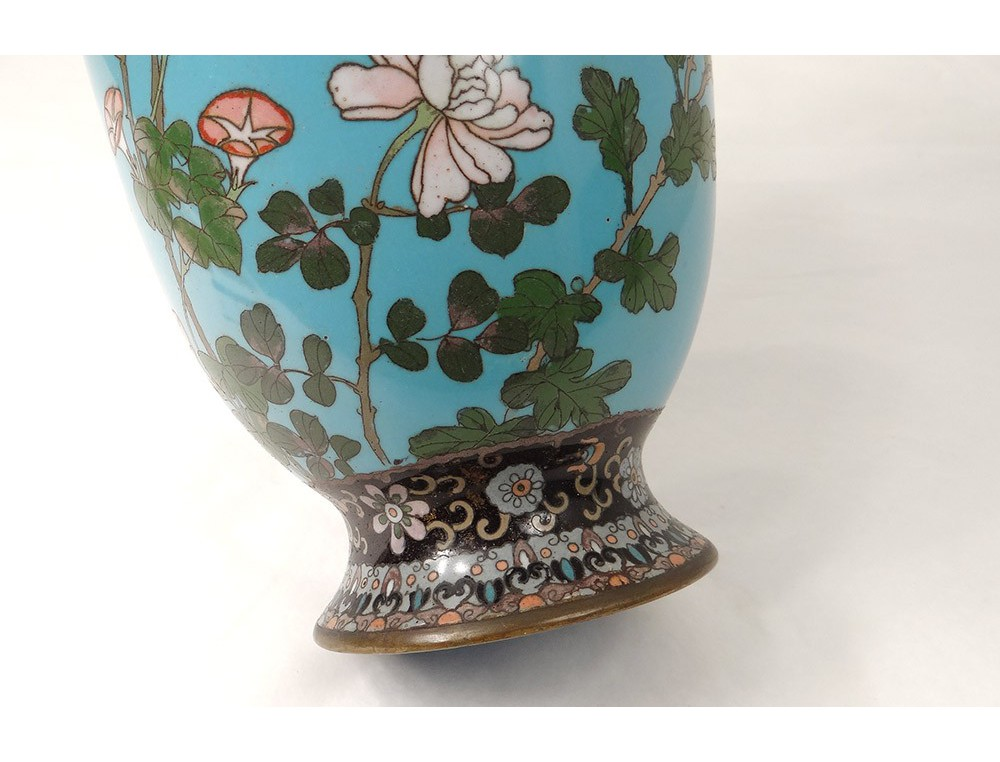 Cloisonn 233 Enamel Vase Bird Butterfly Flowers Dragons Japan