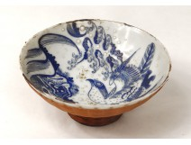 Cup blue-white Chinese porcelain bird signed Qing Dynasty XIX