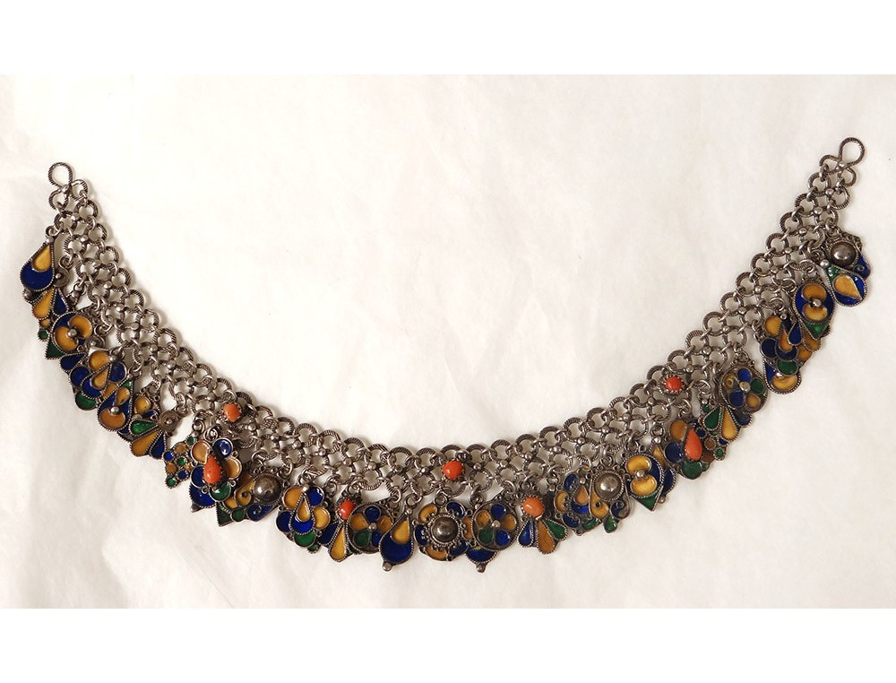 Parure frontale collier kabyle argent emaux maghreb for Collier parure