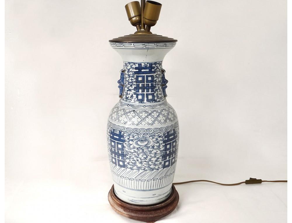 Blue White Chinese Porcelain Baluster Vase Lamp Flowers