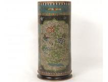 cloisonné pin on porcelain vase Chubei totaI Meiji Japan Shippo nineteenth