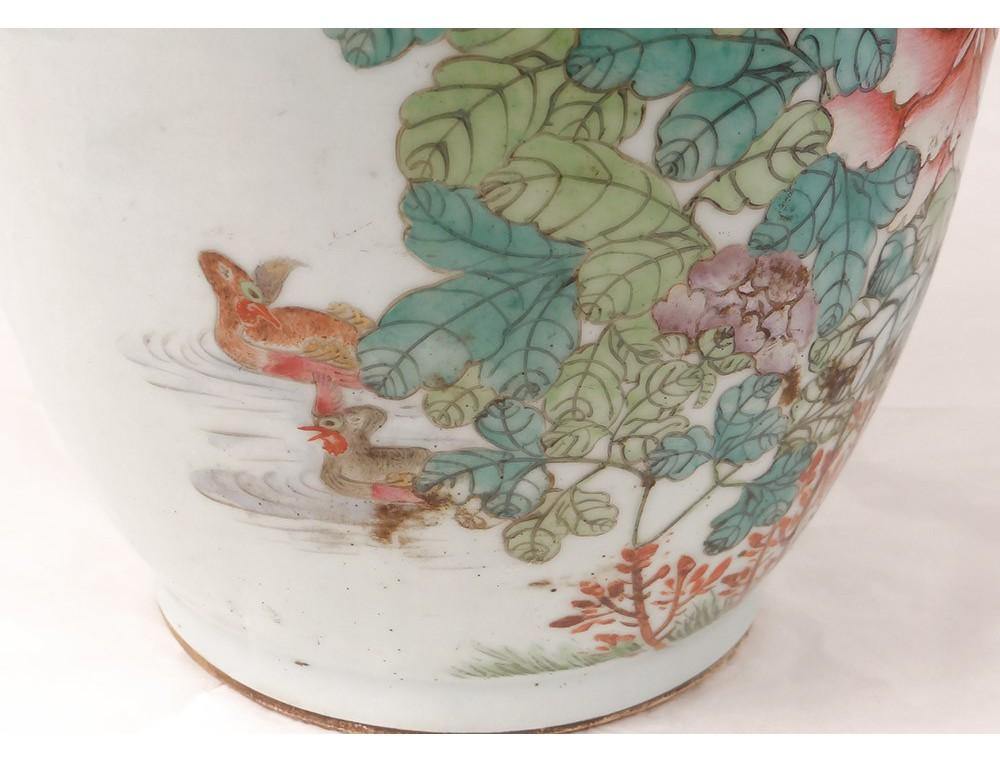 Chinese Porcelain Vase Phoenix Bird Flower Heron Xixth Century