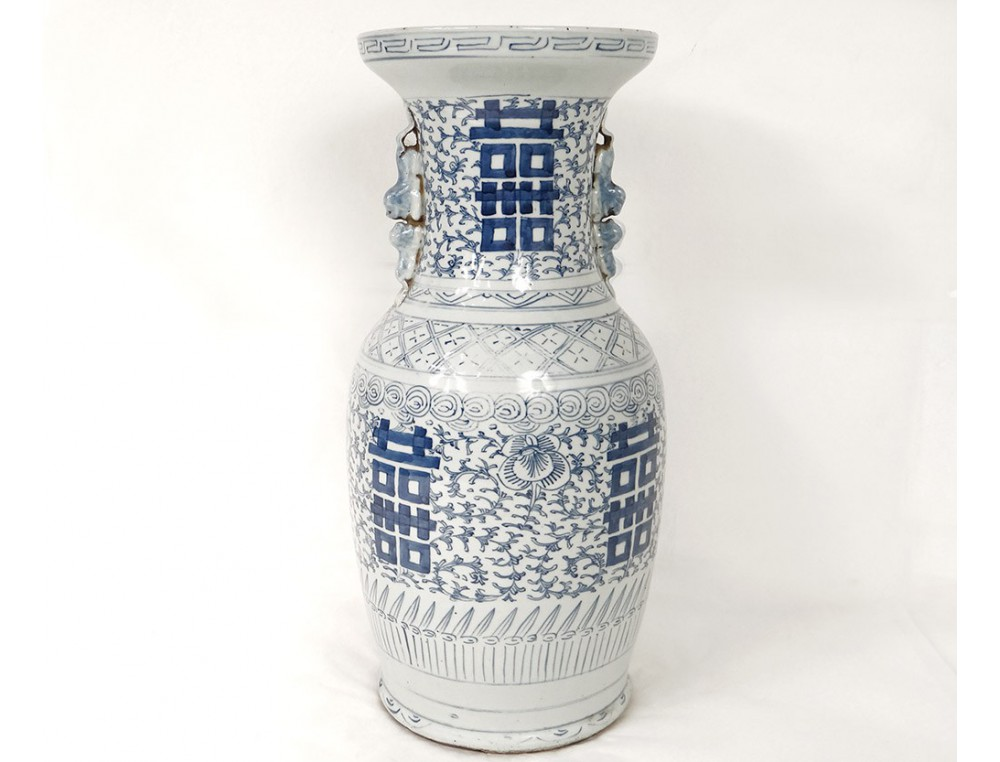 Chinese Porcelain Baluster Vase White Blue Flowers Chinese