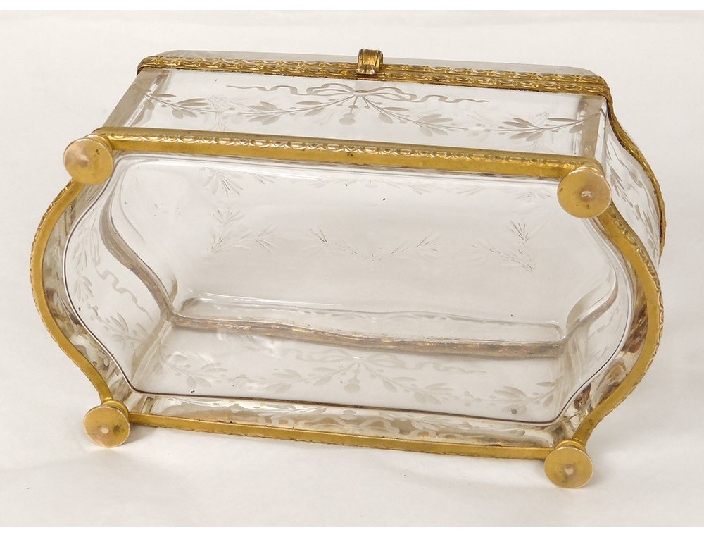 coffret bo te biscuits cristal grav bronze dor napol on iii xix si cle. Black Bedroom Furniture Sets. Home Design Ideas