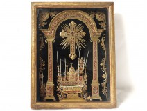 Quilling altar reliquary tabernacle frame cross picnic nineteenth church candles