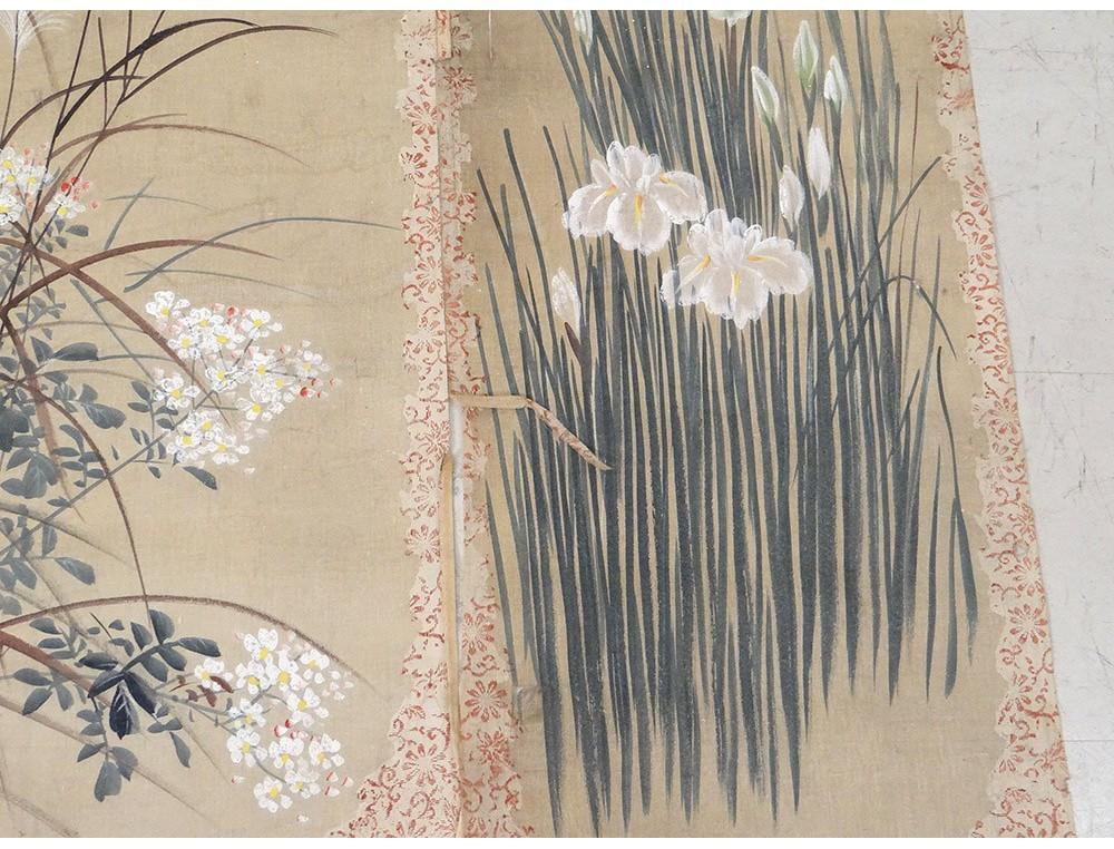 4 rolls japanese paintings on silk flowers birds japan signed nineteenth mightylinksfo