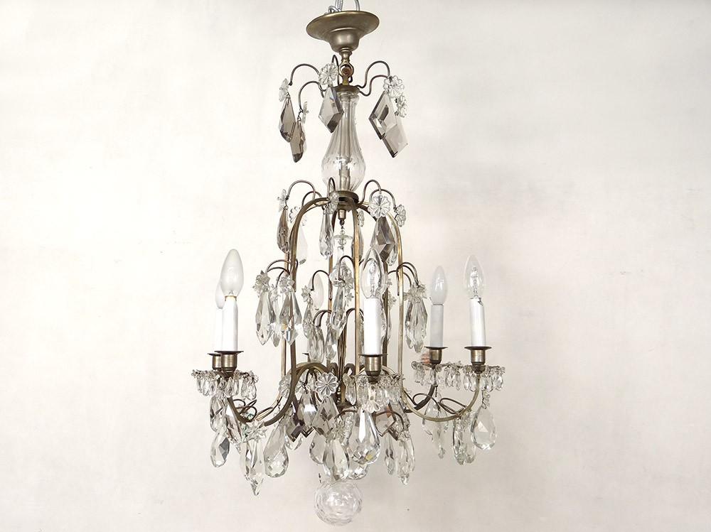 lustre 6 feux pampilles acier cristal taill suspension xix me si cle ebay. Black Bedroom Furniture Sets. Home Design Ideas