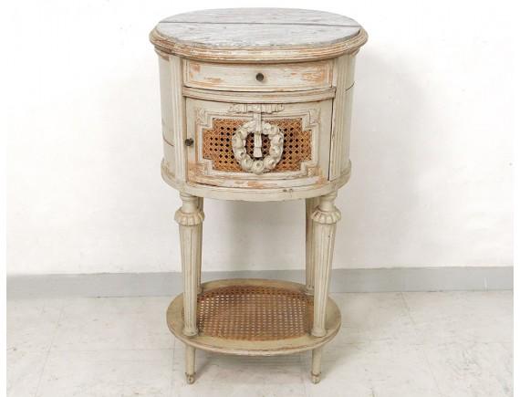 Table chevet ovale Louis XVI bois laqué cannage marbre couronne XIXè sièc