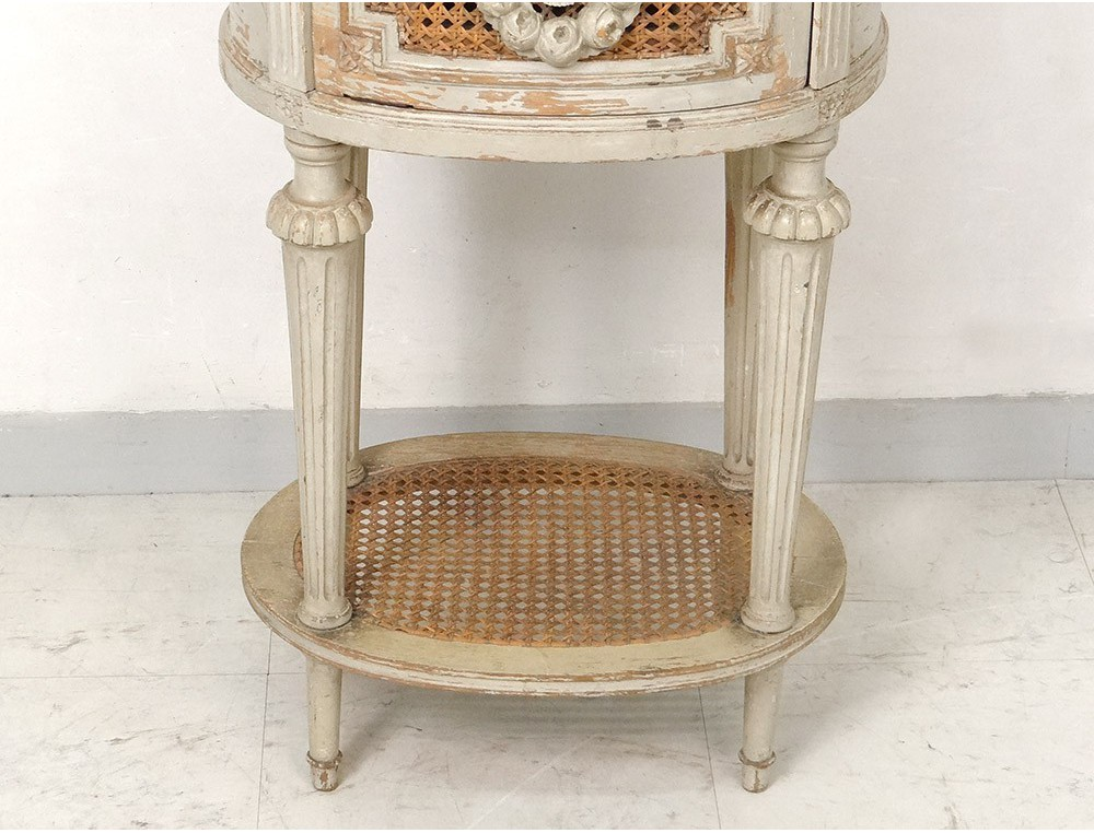 Table chevet ovale louis xvi bois laqu cannage marbre couronne xix si cle - Table chevet blanc laque ...