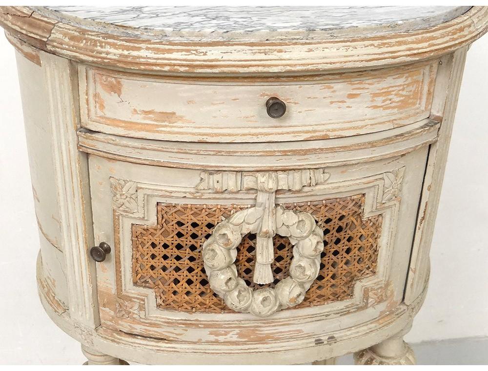 table chevet ovale louis xvi bois laqu cannage marbre. Black Bedroom Furniture Sets. Home Design Ideas