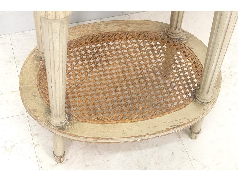 Table chevet ovale Louis XVI bois laqué cannage marbre couronne XIXè siècle