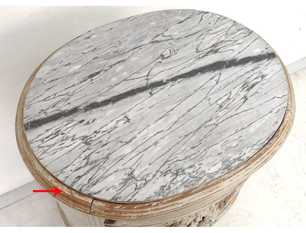 Table chevet ovale Louis XVI bois laqué cannage marbre