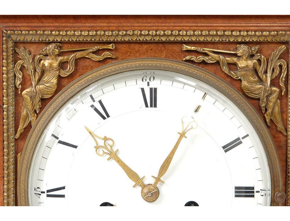 Empire Clock Terminal Magnifying Amboine Bronze Clock