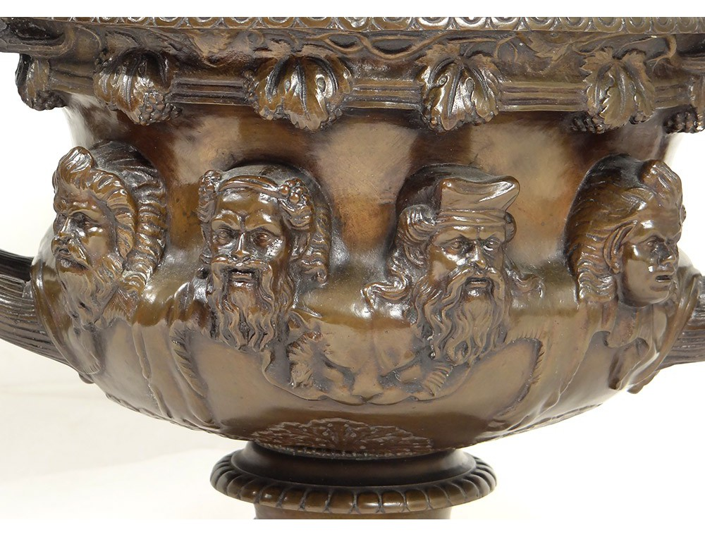 Large Bronze Cup F Barbedienne Ancient Vine Characters