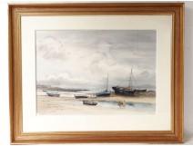 Watercolor Joseph Marie Le Tournier Breton sailing nineteenth century landscape